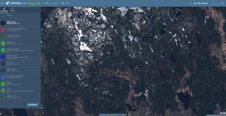 sentinel hub er en nettside med satelittbilder som viser om det er snø på grusveier i Nordmarka