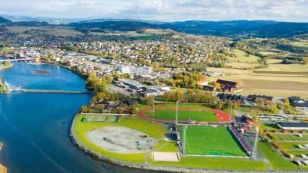 Snart ferdig: Bildet viser tomten i Levanger der velodromen blir liggende. Foto: IL Sverre.