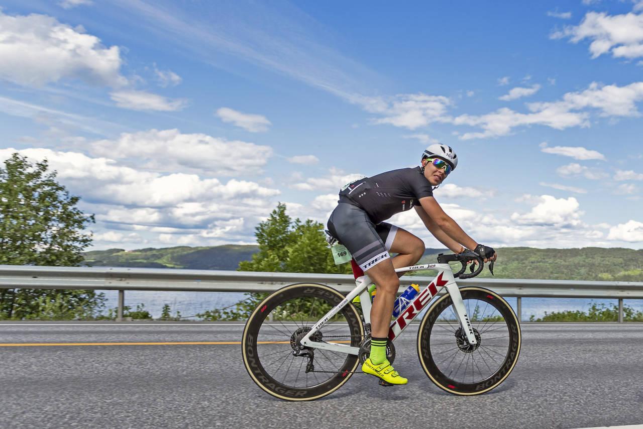 SEIER: Jonas Orset syklet alene fra Olavsgaard til mål på fellesstarten Trondheim-Oslo. Foto: Ola Morken