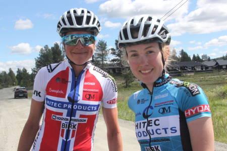 LAGARBEID: Ingrid Lorvik (til venstre) og Ingvild Gåskjenn syklet partempo i fem mil av den 88 kilometer lange fellesstarten i Tour te Fjells. Foto: Ingeborg Scheve