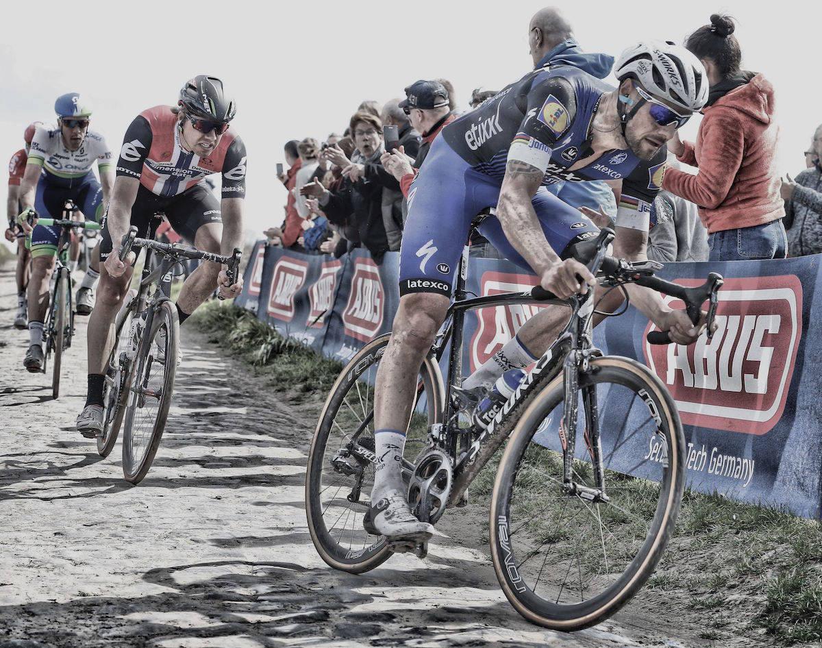 NESTEN: Edvald Boasson Hagen er en av de norske rytterne som har vært i posisjon til å vinne Paris-Roubaix. Foto: Cos Vos