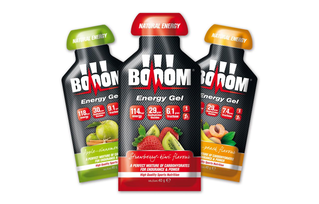 Belgiske BOOOM er nye på det norske markedet. Gelen deres er smakssatt med naturlig juice og inneholder 90% maltodekstrin og 10% fruktose.