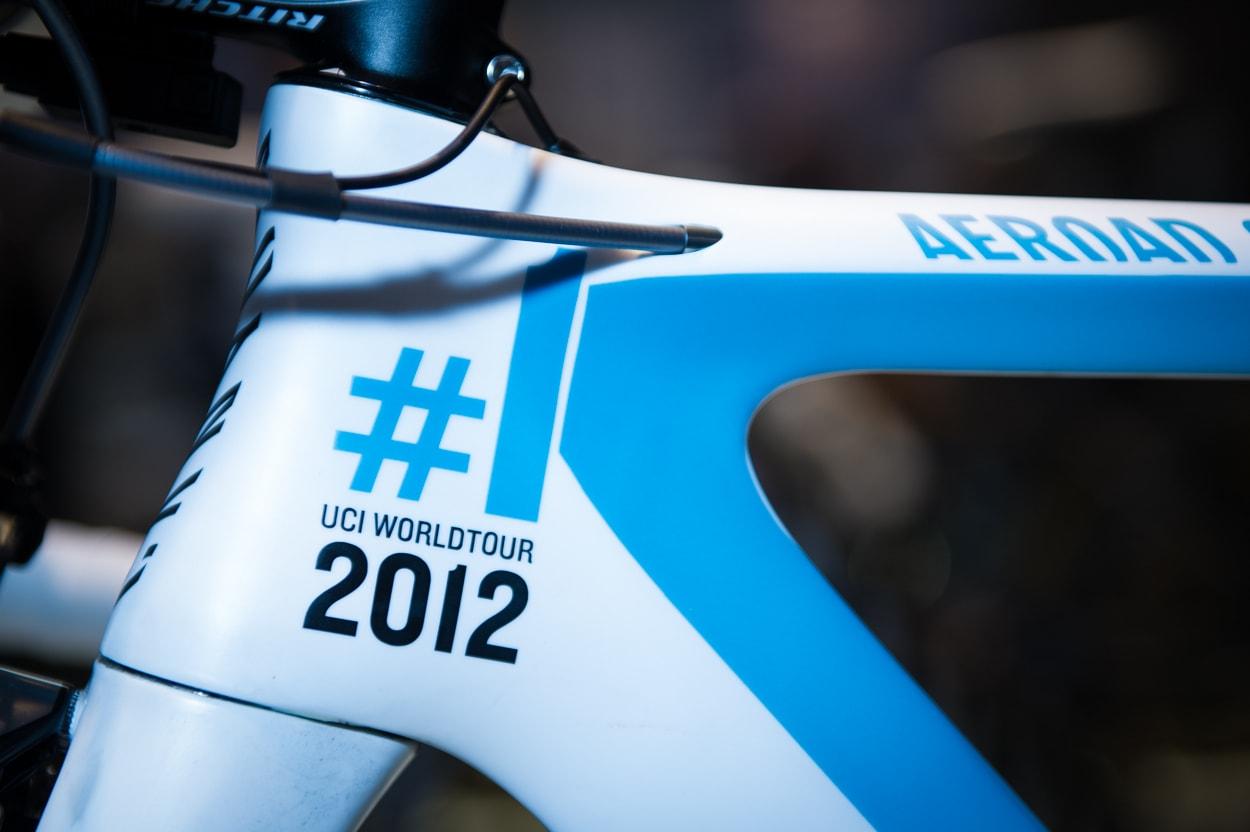 INGEN TVIL: Hele det fete frontpartiet på sykkelen er dekorert med det endelige beviset på at Joaquim Rodriguez i fjor ble regnet som verdens beste syklist.