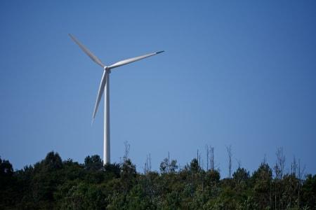 FORNYBAR ENERGI: Kraftproduksjon på enhver vindutsatt liten knaus i Galicia.