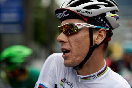 FORNØYD VERDENSMESTER: Philippe Gilbert fikk endelig sin første seier i verdensmestertrøya, og har tydeligvis kjørt seg i form til VM i Firenze.