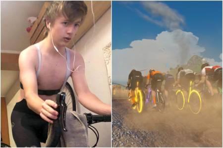 Oliver Melsom-Johansen (15) fra Drøbak SK er en av mange unge Zwift-ryttere i NCF Vintercup Ung
